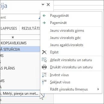 Virsrakstu kontekstizvēlnes opcijas navigācijas rūtī