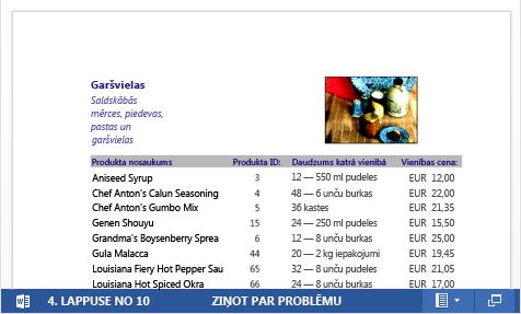 Iegults PDF fails ar produktu katalogu, kas attēlots programmā Word Web App