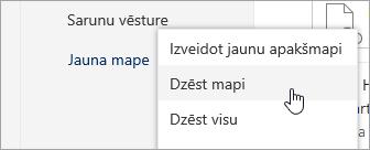 Ekrānuzņēmums ar izvēlnes opciju dzēst mapi