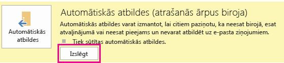 Programmas Outlook dialoglodziņa Automātisko ziņojumu izslēgšana ekrānuzņēmums