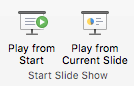 Demonstrējiet slaidrādi no sākuma vai no pašreizējā slaida.