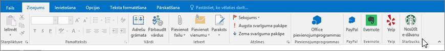 Outlook lentes ekrānuzņēmums ar fokusu uz cilni ziņojums, kur kursors norāda uz pievienojumprogrammām kreisajā malā. Šajā piemērā pievienojumprogrammas ir Office pievienojumprogrammas, PayPal, Evernote, vaids un Starbucks.