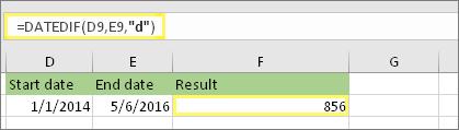 """= DATEDIF (D9, E9, """"d""""), kā rezultāts ir 856"""