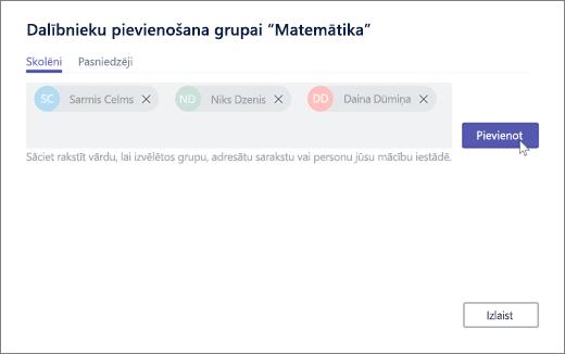 Grupas > Pievienot dalībnieku