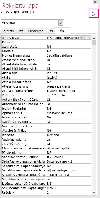 Ekrānuzņēmums ar Access rekvizītu lapu bez rekvizītu kārtošanas