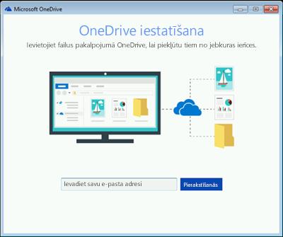Ekrānuzņēmums ar OneDrive iestatīšanas pirmo ekrānu operētājsistēmā Windows 7