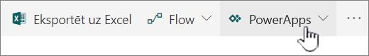 PowerApp izvēlne ar atlasītu izveidot un programmu