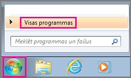 Meklējiet Office programmas, izmantojot sadaļu Visas programmas operētājsistēmā Windows7