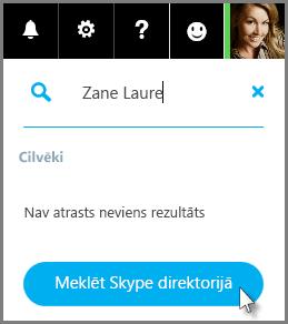 Noklikšķināšana uz Meklēt Skype direktorijā