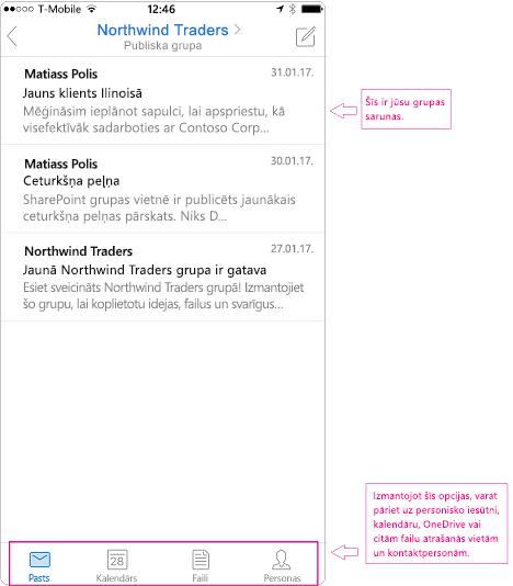 Sarunas skatā grupas Outlook mobilajā lietojumprogrammā