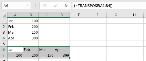 Formulas ar šūnām A1:B4 transponētām šūnās A6:D7