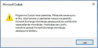 Outlook nevar pieteikties.