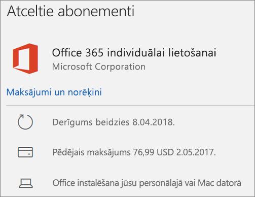 Tiek rādīts Office 365 abonements, kura derīguma termiņš ir beidzies