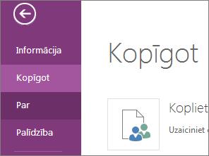 koplietošanas komanda programmā onenote online