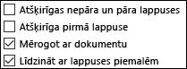 Galvenes un kājenes opcijas dialoglodziņā Lappuses iestatīšana