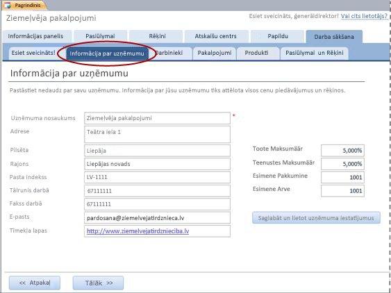 Pakalpojumu datu bāzes cilne Informācija par uzņēmumu