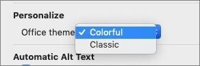 Office dizainu nolaižamā izvēlne, kurā lietotājs var atlasīt krāsainu vai klasisku dizainu