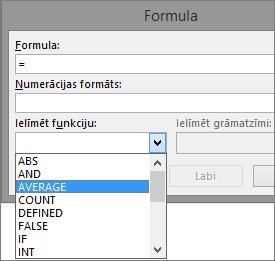 Formulas ielīmēšanas funkcijas tiek rādītas no cilnes Tabulu rīki, izkārtojums.
