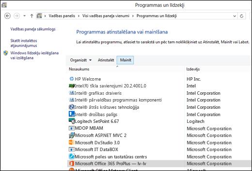 Programmu atinstalēšanas sīkprogrammā noklikšķiniet uz Mainīt, lai sāktu Microsoft Office labošanu.