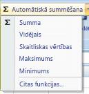 Skaitlisko vērtību skaita komandas AutoSum izmantošana