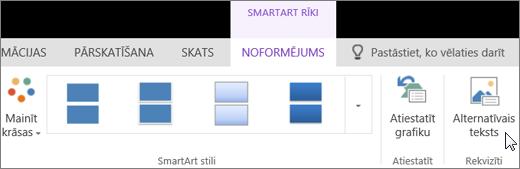 Ekrānuzņēmumā redzama SmartArt rīku cilne Noformējums ar kursoru uz opciju Alternatīvais teksts.