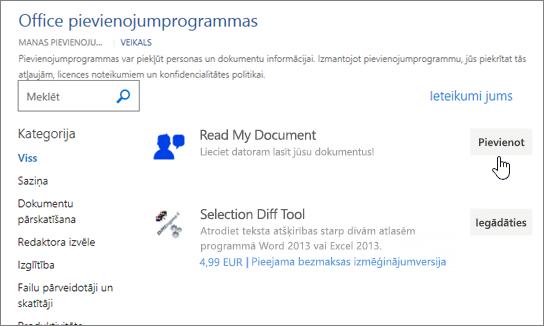 Ekrānuzņēmums, kurā programmas darbam ar Office veikalā, kurā var atlasīt vai lietojumprogrammas meklēt vārdu.