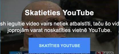 YouTube kļūdas ziņojums izskaidro, ka vairs netiek atbalstīti flash iegulšanas video