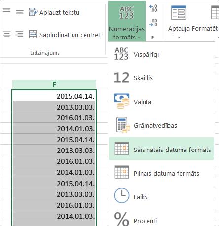 datu maiņa uz īsā datuma formātu no lentes