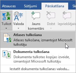 Rāda atlases tulkošana opciju sadaļā cilne Pārskatīšana
