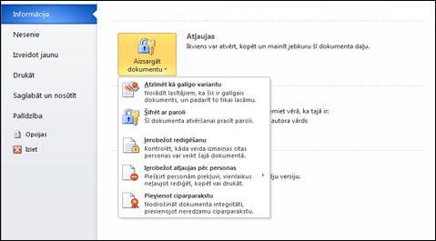 Poga Dokumenta aizsardzība ar opcijām