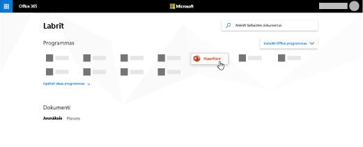 Office365 sākumlapa, kurā ir izcelta programma PowerPoint