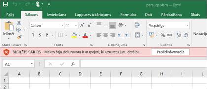 Ja mēģināt atvērt failu no aizdomīgas atrašanās vietas Office bloķēt jebkuru makro.