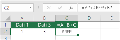 #REF! Dzēšot kolonnu, radās kļūda.  Formula ir mainīta uz = a2 + #REF! + B2