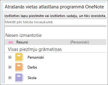 OneNote loga ekrānuzņēmums, kur varat izvēlēties, kurā lapā veikt Skype piezīmes.