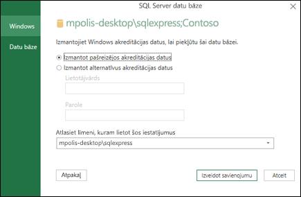 Power Query SQL Server savienojuma pieteikšanās akreditācijas datus