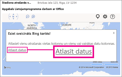 Datu programmai Bing Maps sistēmai Office atlasīšana Access programmā