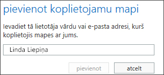 Outlook Web App dialoglodziņš Koplietojamās mapes pievienošana