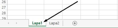 Excel darblapas cilnes ir programmas Excel loga apakšdaļā.