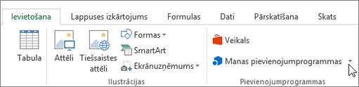 Ekrānuzņēmums ar kursoru, kas norāda uz manas pievienojumprogrammas programmas Excel lentes cilnes ievietošana sadaļā atlasiet manas pievienojumprogrammas, lai piekļūtu pievienojumprogrammas programmai Excel.