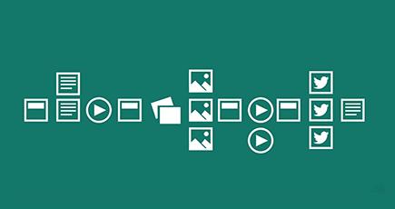 Dažādas ikonas, kas apzīmē attēlus, video un dokumentus.