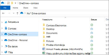 OneDrive darbam failu ekrānuzņēmums failu pārlūkā