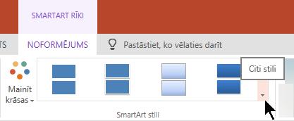 Sadaļā SmartArt rīki atlasiet bultiņu citi stili, lai atvērtu SmartArt stilu galeriju