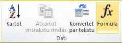 Cilnes Tabulu rīki, Izkārtojums grupa Dati programmas Word 2010 lentē
