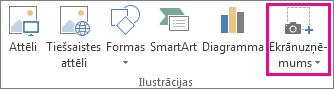 Programmas Word grupas Ilustrācijas poga Ekrānuzņēmums