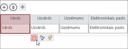 noformējuma rediģēšanas pogas izmantošana, lai mainītu datu lapas noformējumu