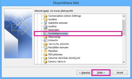 Outlook eksportēšanas vednis— kontaktpersonu izvēlēšanās