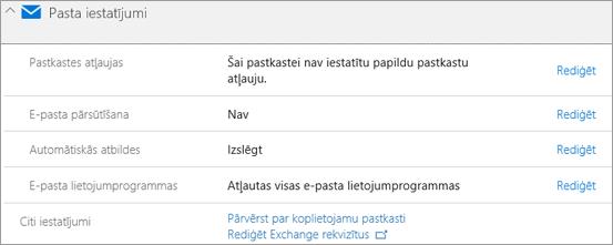 Ekrānuzņēmums: Office 365 pasta iestatījumi