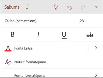Cilne Sākums ar fonta stilu opcijām