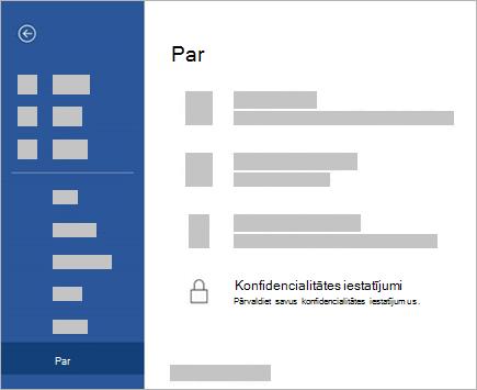 Ekrānuzņēmums ar pogu Ko Iestatījumi konfidencialitātes iestatījumi