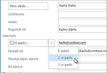 Papildu e-pasta adreses pievienošana kontaktpersonai